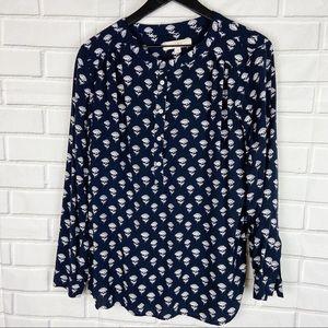 Loft floral half button up blouse blue white L